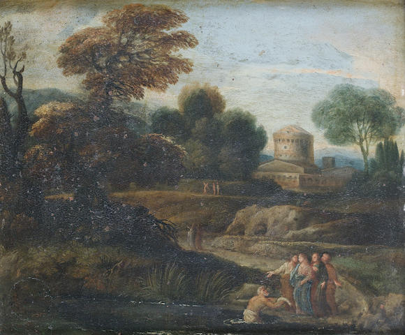 Bolognese School The call of Peter, before an Italianate landscape