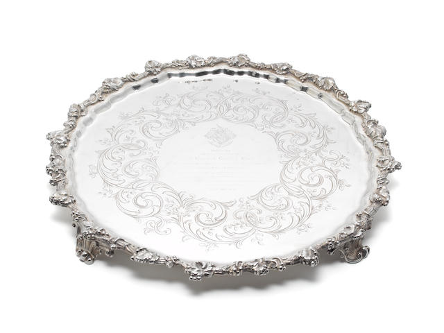 RAILWAY INTERST: A Victorian silver salver,  by Benjamin Smith III, London 1845,