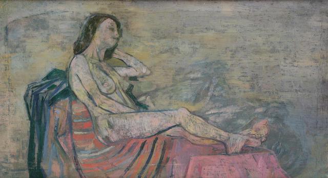 Stella  Steyn (British, 1907-1987) Reclining female nude 40 x 70.5 cm. (15 3/4 x 27 3/4 in.)