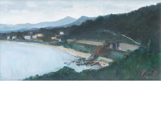Peter Collis R.H.A. (Irish, born 1929) Killiney Strand and The Sugarloaf 12.5 x 25.5 cm. (5 x 10 in.)