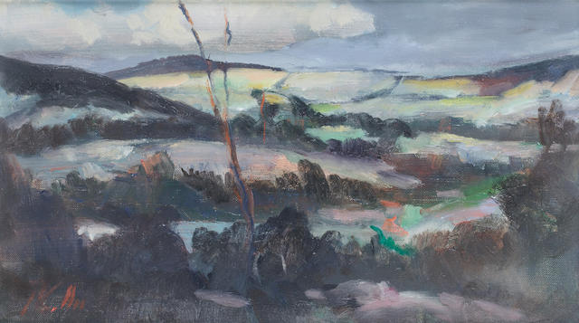 Peter Collis R.H.A. (Irish, born 1929) Glencree Valley II 16.5 x 30 cm. (6 1/2 x 11 3/4)