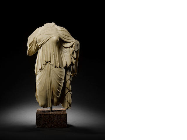 A Roman marble female draped torso of Isis