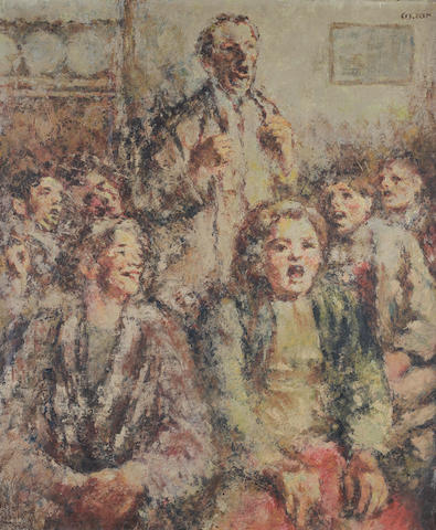 William Conor R.H.A., R.U.A. (Irish, 1881-1968) A Rousing Chorus 76 x 64 cm. (30 x 25 1/4 in.)