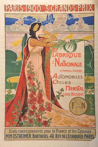 A 1903 Paris Grand Prix FN company poster after Bernard Liege,