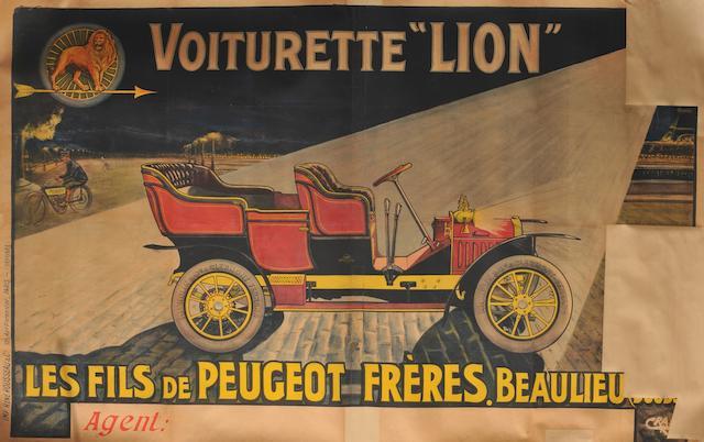 Affiche pour Peugeot Lion,