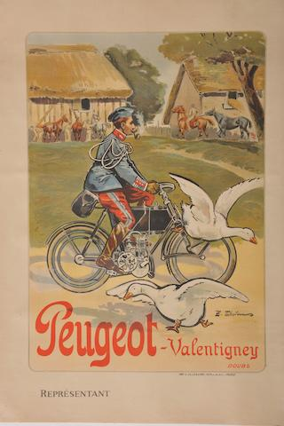 A Peugeot motocycles poster after Theleu,