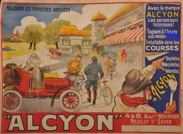 An Alcyon 'Bicyclettes, Motocyclettes, Voiturettes' poster after Marcel Bloch,