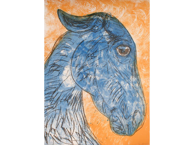 Dame Elisabeth Frink R.A. (British, 1930-1993) Blue horse head (Wiseman 142) Screenprint in colours, 1988, on BFK Rives, signed and numbered 21/70 in pencil, printed by Chilford Hall Press, published by Chilford Hall Press and the artist, the full sheet printed to the edges, 1025 x 720 mm (40 3/8 x 28 3/8 in) (SH)