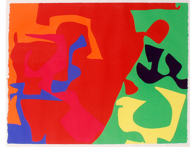 Patrick Heron (British, 1920-1999) January 1973 Screenprint in colours, 1973, on wove, signed, dated and numbered 36/72 in pencil, printed by Kelpra Studios, London, 586 x 814 mm (23 x 31 6/8 in)(I)