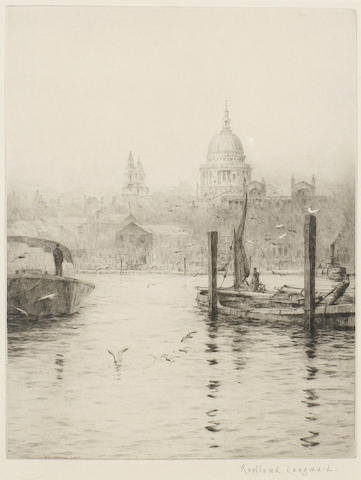 Rowland Langmaid (British, 1897-1956) St Paul's; London Bridge; Tower of London Three engravings, on laid, each signed in pencil, two stamped 'academy proof', with full margins, various sizes (3)