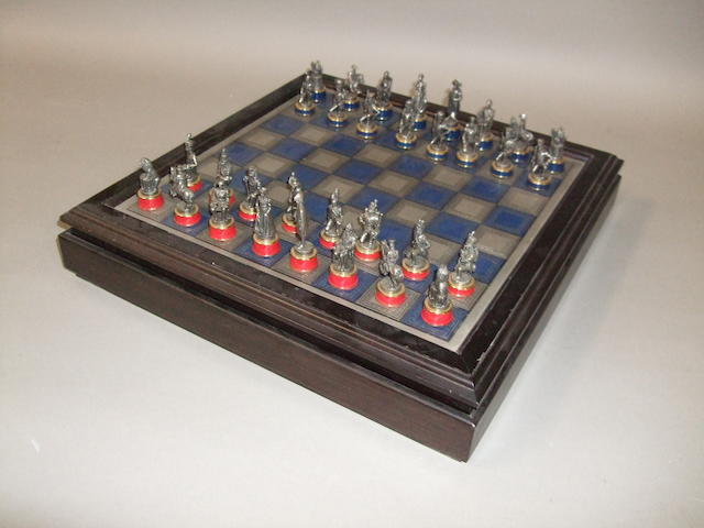 """A """"Battle of Waterloo"""" pewter chess set by the Franklin Mint"""