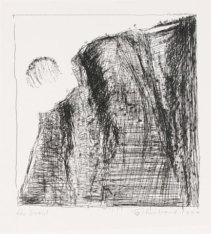 Wayne Thiebaud (American, born 1920) Landscape Etching, 1994, on wove, signed, dated and inscribed 'for david' in pencil, sheet 415 x 354 mm (16 1/4 x 13 7/8 in)