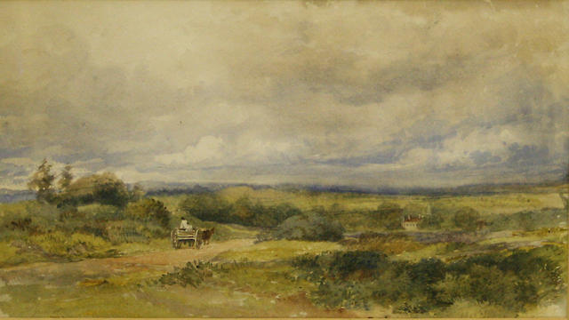 Follower of David Cox Snr., OWS (British, 1783-1859) Cart on a heathland track