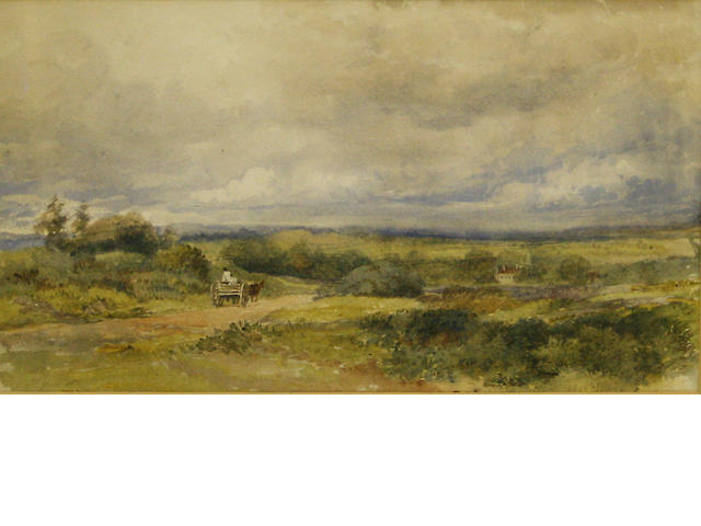 Follower of David Cox Snr., OWS (British, 1783-1859) Cart on a heathland track