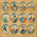 Twelve miniature portraits of figures of the court of Lahore, framed as one