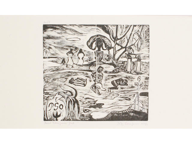 Paul Gauguin (French, 1848-1903) Mahana Atua (Guerin 42) Woodcut, circa 1894-1895, on tissue thin japan, signed and numbered 54 in pencil, from the edition of 100, stamped HMP verso, 265 x 426 mm (10 5/8 x 16 3/4 in) (SH) (Unframed)(SH)(unframed)