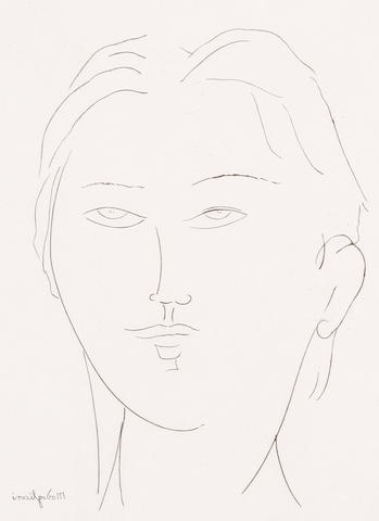 After Amedeo Modigliani (Italian 1884-1920) Tête de femme I Etching, on wove, 160 x 120mm (6 5/16 x 4 3/4in) (PL)(unframed)