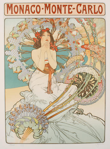 After Alphonse Mucha (Czech 1860-1939) Monaco Monte Carlo Lithograph printed in colours, 1986, on wove, various sizes (unframed)(2)