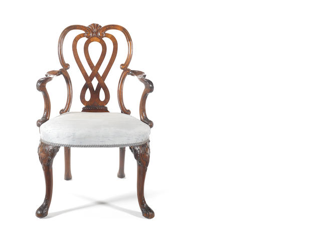 A George II mahogany framed open armchair