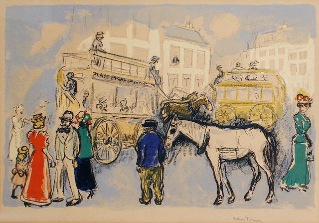 Kees van Dongen (Dutch, 1877-1968) Place Pigalle (Juffermans 23) Lithograph printed in colours, 1950, on wove, with margins, 327 x 479 mm (12 7/8 x 18 7/8 in) (I)
