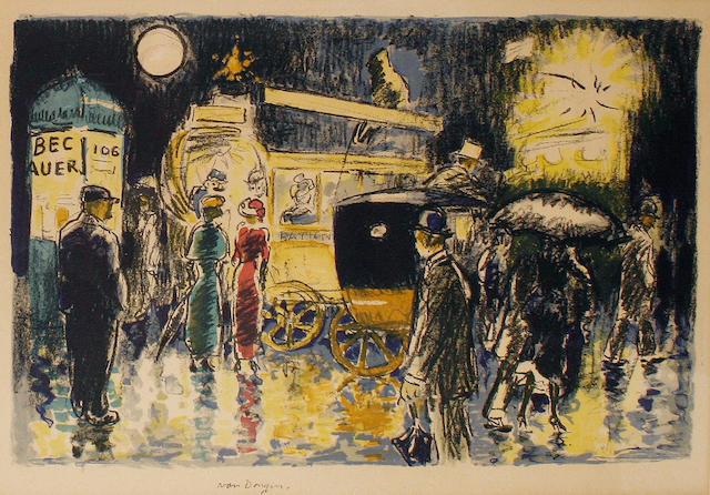 Kees van Dongen (Dutch, 1877-1968) Place Pigalle at night  lithograph printed in colours, 1950, on wove, 270 x 430 mm (10 5/8 x 17 in)(I) unframed