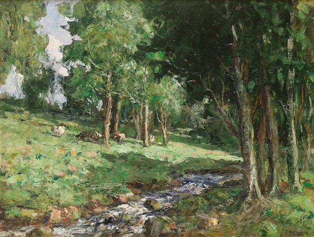 James Humbert Craig (Irish, 1878-1944) Landscape with stream 38 x 51 cm. (15 x 20 in.)