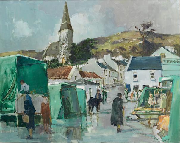 Cecil Maguire (Irish, born 1930) Market day 59 x 75 cm. (23 1/4 x 29 1/2 in.)