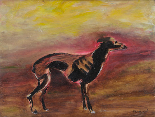 Basil Blackshaw (Irish, born 1932) A Greyhound 34 x 45 cm. (13 1/2 x 17 3/4 in.)