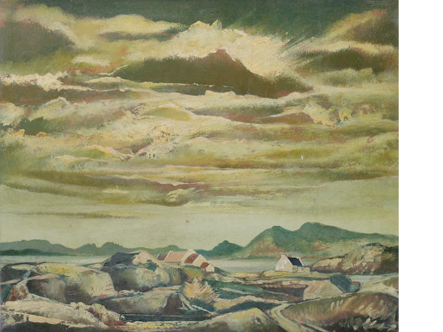 Daniel O'Neill (Irish, 1920-1974) Landscape, Lough Swilly, Co. Donegal 51 x 61 cm. (20 x 24 in.)