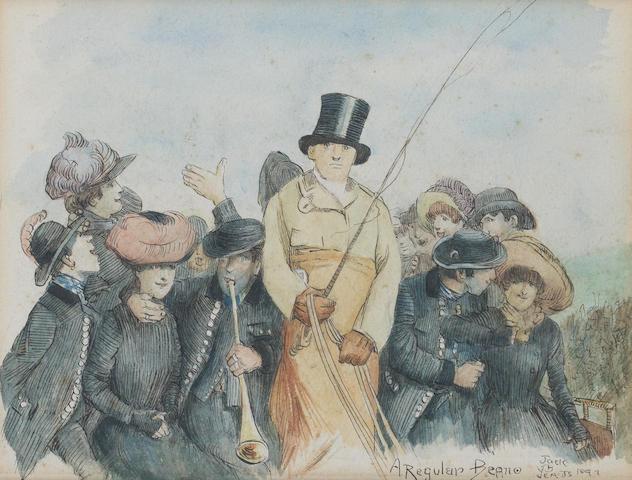 Jack B. Yeats R.H.A. (Irish, 1871-1957) Londoners: A Regular Beano 14.5 x 19 cm. (5 3/4 x 7 1/2 in.)