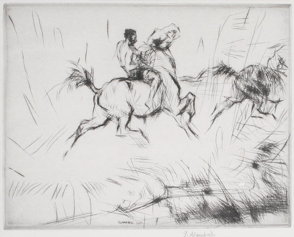 Edmund Blampied (Jersey, 1886-1966) Splashing through the Surf Drypoint, 1923, on wove, signed in pencil, from the edition of 100, 180 x 260mm (7 1/16 x 10 1/4in)(PL)