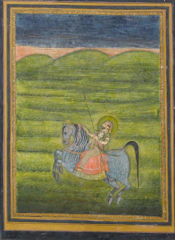 An equestrian portrait of a raja, attributed to Kedar Das Kishangarh, circa 1740