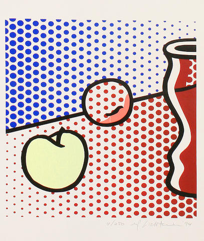 Roy Lichtenstein (American, 1923-1997) Still Life with Red Jar (Corlett 291) Screenprint in colours, 1994, on Lana Lanaquarelle Watercolour, signed, dated and numbered 4/250 in pencil, printed and published by Gemini G.E.L, Los Angeles, 380 x 335 mm (15 x 13 14/ in)(SH)(unframed)