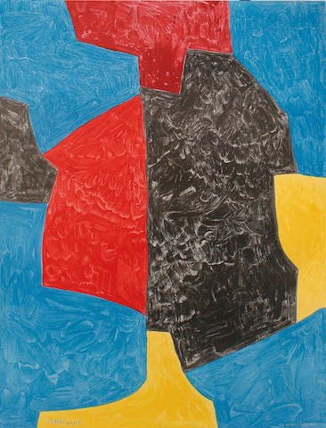 After Serge Poliakoff  (Russian 1900-1969) Abstract Composition Offset lithograph in colours, 1971, on wove, published by Charles Sorlier, Paris, 870 x 640 mm (34 1/4 x 25 1/4 in)(I)(unframed)