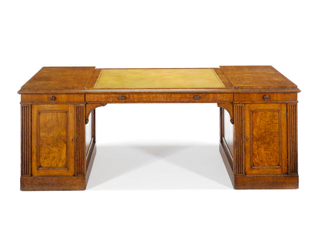 A Regency oak partner's pedestal desk attributed to George Bullock