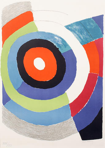 Sonia Delaunay (French, 1885-1979) Composition with circles Lithograph in colours, on wove, signed and numbered XXII/XXV in pencil, 680 x 480 mm (26 3/4 x 18 3/4 in)(SH)(unframed)