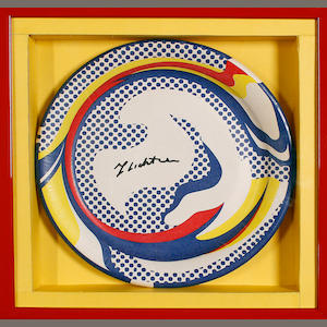 Roy Lichtenstein (American, 1923-1997), Lichtenstein plate signed paper plate (Corlett III.45) Screenprint in colours, 1969, on a paper plate, signed in black ink, published by Bert Stern for On 1st, New York, 260 mm (10 1/4 in)