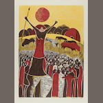 Lucky Madlo Sibiya (South African, 1942-1999) A set of 12 woodcuts from Lucky's 1977 Umabatha series each 66 x 48cm (26 x 19in) (sheet size). unframed