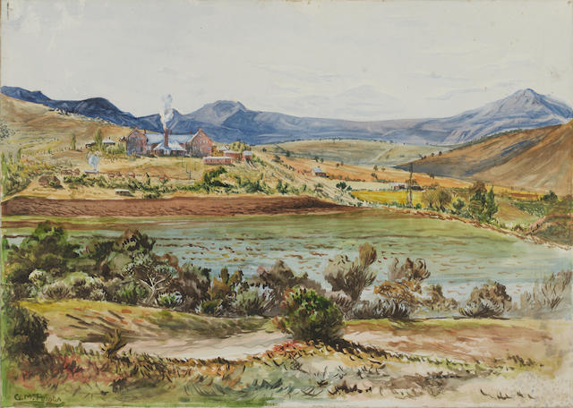 George Mnyalaza Milwa Pemba (South African, 1912-2001) The Victoria Hospital at Lovedale in the Eastern Cape, with the Hogsback beyond unframed