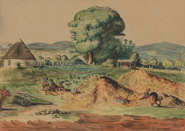 George Mnyalaza Milwa Pemba (South African, 1912-2001) Rural scene, Lovedale unframed