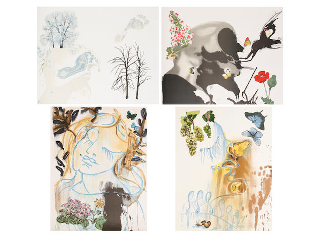 Salvador Dali (Spanish, 1904-1989) The Four Seasons (Michler & Löpsinger 1368-1371) The complete set of four lithographs in colours, 1972, on wove, each signed in pencil, each numbered 127/350, 760 x 570 mm (30 x 22 1/2 in) (SH) (unframed) (4)