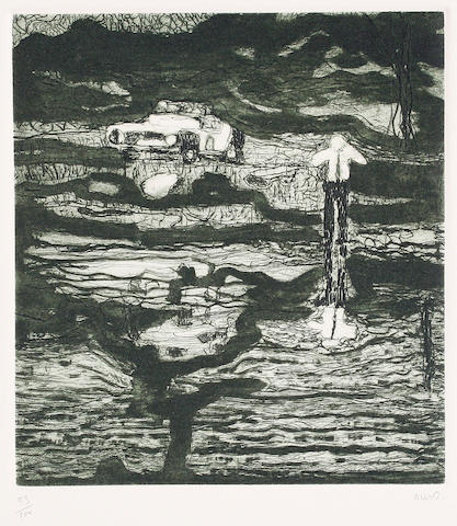 Peter Doig (British, born 1959) Echo Lake Softground etching and aquatint in colours, 2000, on 300 gsm Hahne Muehle, signed and numbered 93/100 in pencil, with full margins, 260 x 210 mm (10 1/4 x 8 1/4 in)(SH) (unframed)