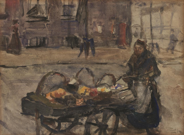 Isaac Israels (Dutch, 1865-1934) A street vendor