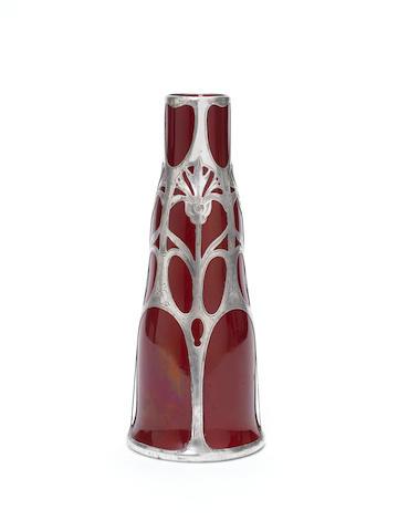 Doulton Burslem A Flambé Gorham Silver Overlay Vase, circa 1910
