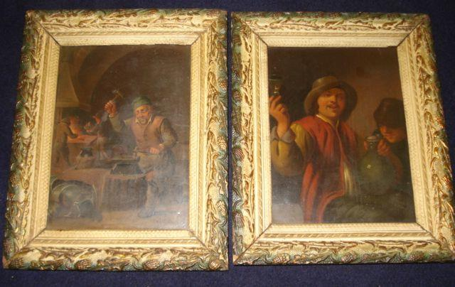 19th Century Flemish School after Old Masters - The Wine Glass and The Farmers, 18.5 x 13.5cm.