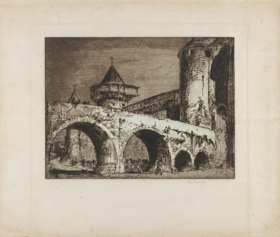 Sir Frank Brangwyn, R.A. (British, 1867-1956) A collection of four etchings Including 'The Moat' (G24), 'The Caravan' (G169), 'Bottle Washers' (G61), 'Old Kew Bridge' (G51), on laid and wove papers, each signed in pencil, (4)(unframed)
