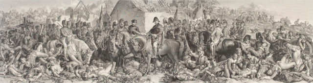 Daniel  Maclise (British, 1806-1870) Wellington & Blucher meeting after the Battle of Waterloo an engraving by Lumb Stocks 30 x 114cm