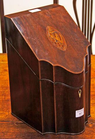 A George III mahogany and boxstrung knife box
