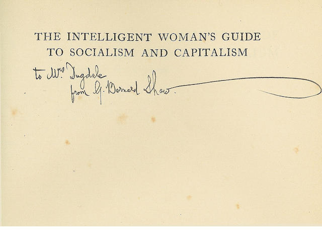 SHAW (GEORGE BERNARD) The Intelligent Woman's Guide to Socialism and Capitalism