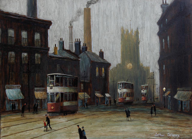 Arthur Delaney (British, 1927-1987) Manchester Cathedral, possibly from Deansgate, with trams and figures